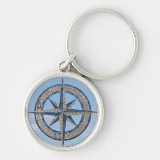 Compass Rose (Sand, Water, Sky) Silver-Colored Round Key Ring