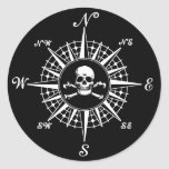 Compass Rose Skull 1 Round Sticker