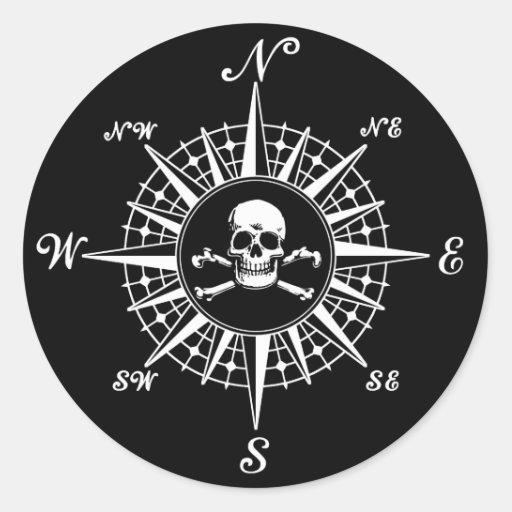Compass Rose Skull 1 Sticker
