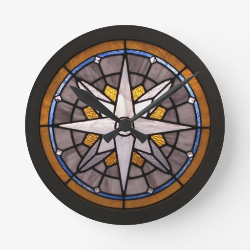 Glass Compass Rose Patterns : Compass rose stained glass clock zazzle