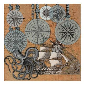 Compass Rose Vintage Nautical Art Print Graphic