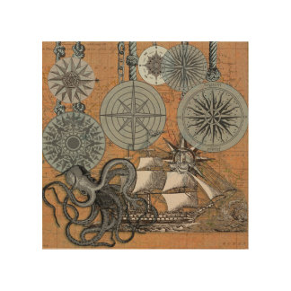 Compass Rose Vintage Nautical Art Print Graphic