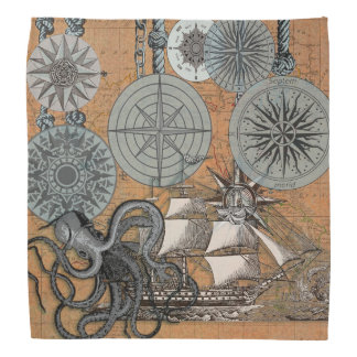 Compass Rose Vintage Nautical Art Print Graphic Bandana