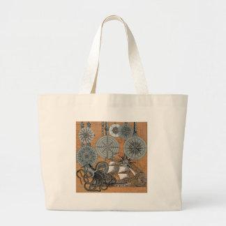 Compass Rose Vintage Nautical Art Print Graphic Large Tote Bag