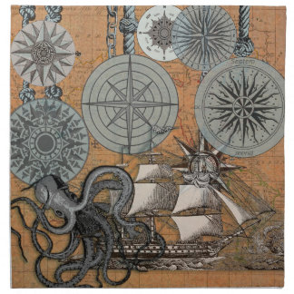 Compass Rose Vintage Nautical Art Print Graphic Napkin