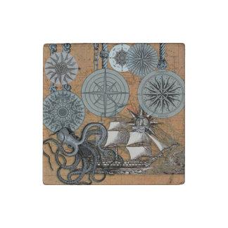 Compass Rose Vintage Nautical Art Print Graphic Stone Magnet