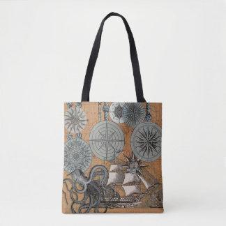 Compass Rose Vintage Nautical Art Print Graphic Tote Bag