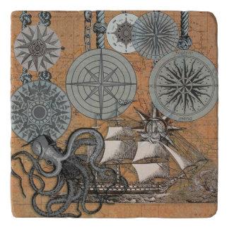 Compass Rose Vintage Nautical Art Print Graphic Trivet
