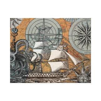 Compass Rose Vintage Nautical Octopus Ship Art Canvas Print