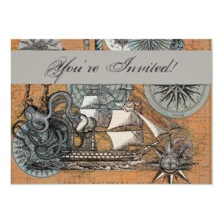 Compass Rose Vintage Nautical Octopus Ship Art Card