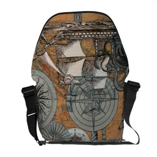 Compass Rose Vintage Nautical Octopus Ship Art Courier Bags