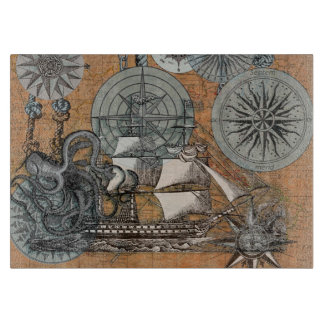 Compass Rose Vintage Nautical Octopus Ship Art Cutting Board