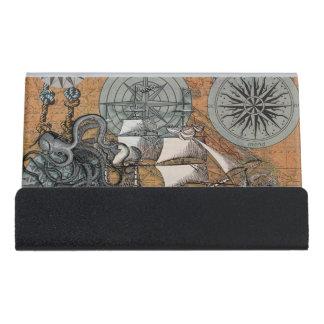 Compass Rose Vintage Nautical Octopus Ship Art Desk Business Card Holder
