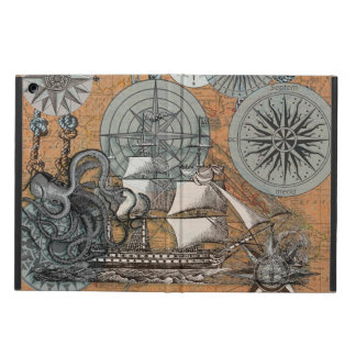Compass Rose Vintage Nautical Octopus Ship Art iPad Air Cover