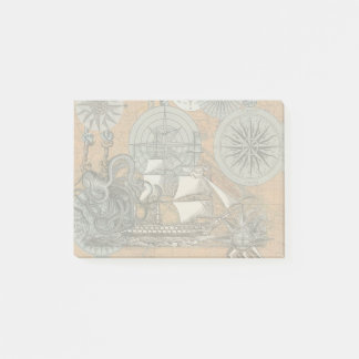 Compass Rose Vintage Nautical Octopus Ship Art Post-it Notes