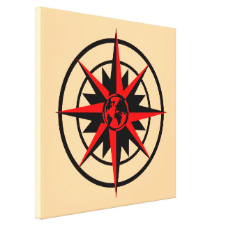 Compass Rose with Globe Gallery Wrapped Canvas