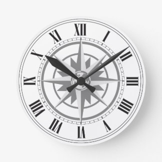 Compass Rose with Globe Wall Clock