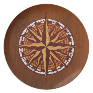 Compass Rose Wood Plate