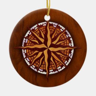 Compass Rose Wood Round Ceramic Decoration