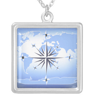 Compass Rose World Map Sterling Silver Necklace