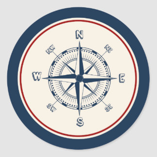 Compass Round Sticker
