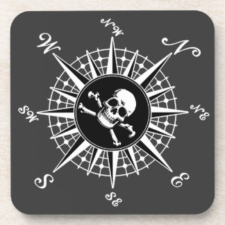 Compass Skull Beverage Coasters
