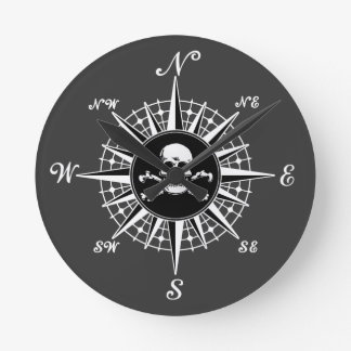 Compass Skull Round Wall Clock