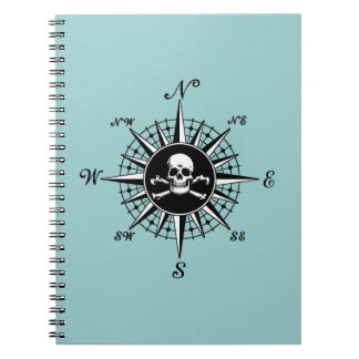 Compass Skull Spiral Note Books