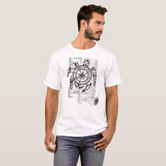 Compass turtle - Family is the way (white t-shirt) T-Shirt