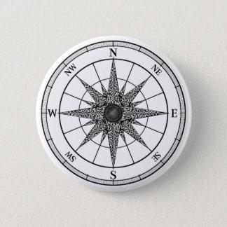 Compass Vintage Rose 6 Cm Round Badge