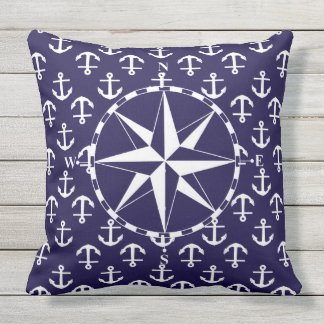 Compass White and Blue Nautical Anchor Pattern Outdoor Cushion