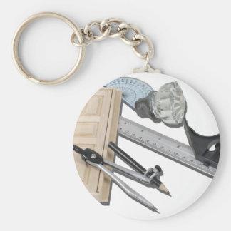 CompassRulerDoorKnobTools021411 Basic Round Button Key Ring