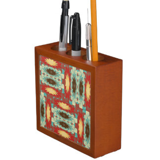 Complex colorful pattern desk organiser