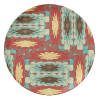Complex colorful pattern plate
