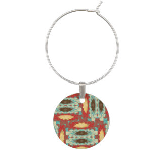 Complex colorful pattern wine charm