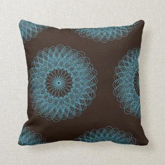 Complex Guilloche Flower pattern brown teal Throw Pillow