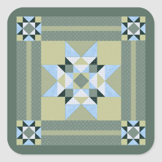Complex Star Patch Green & Blue Square Sticker