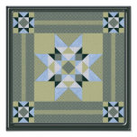 Complex Star Patch in Green & Blue Poster