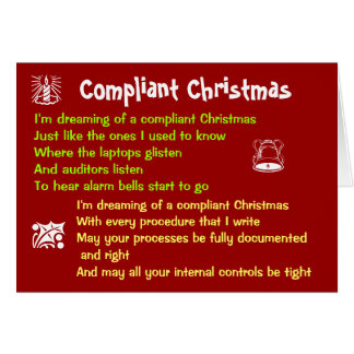 Compliant Christmas White Christmas Lyrics Parody Card