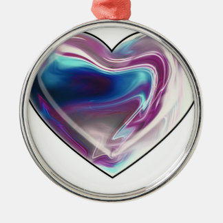 Complicated heart! Silver-Colored round decoration