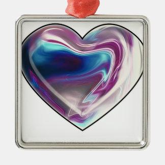 Complicated heart! Silver-Colored square decoration