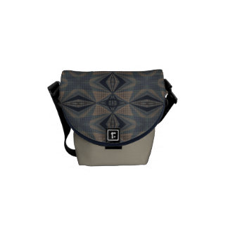 Complicated World - Abstract in Gray, Beige, Blue Messenger Bags
