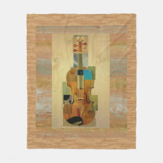 Composed Violin on Wood Panel Effect Background Fleece Blanket