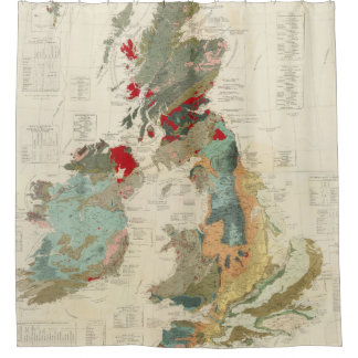 Composite Geological, palaeontological map Shower Curtain