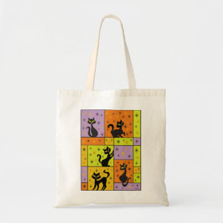 Composition with 5 Black Cats Budget Tote Bag