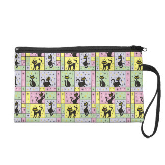Composition with 5 Black Cats Wristlet Clutch