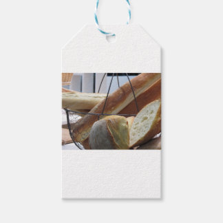 Composition with different types of baked bread gift tags