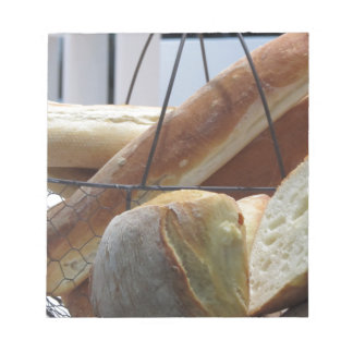 Composition with different types of baked bread notepad