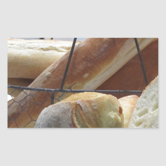 Composition with different types of baked bread rectangular sticker