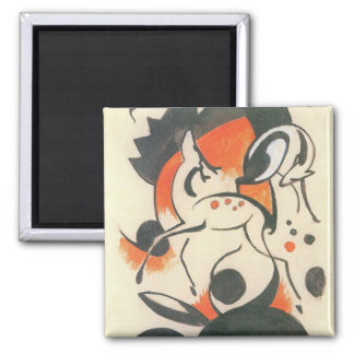 Composition with Two Deer by Franz Marc Square Magnet